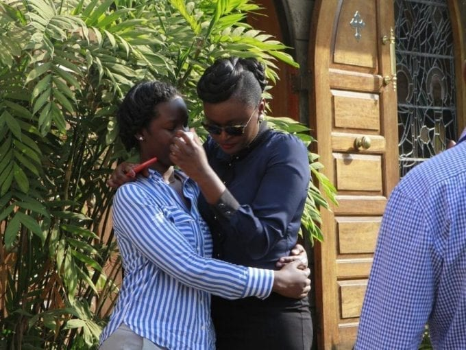 Relatives of the late former minister Nicholas Biwott at the Lee Funeral Home after viewing his body on July 11 /MONICAH MWANGI