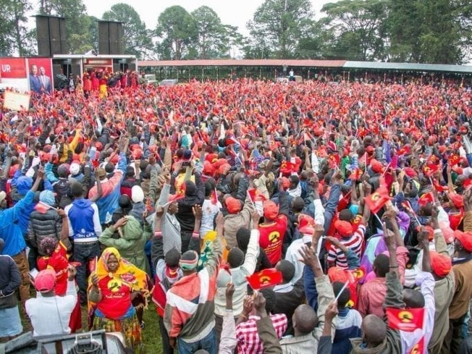 Kabsabet residents at a rally addressed by Jubilee Party leaders President Uhuru Kenyatta and William Ruto on Friday, July 28, 2017. /PSCU