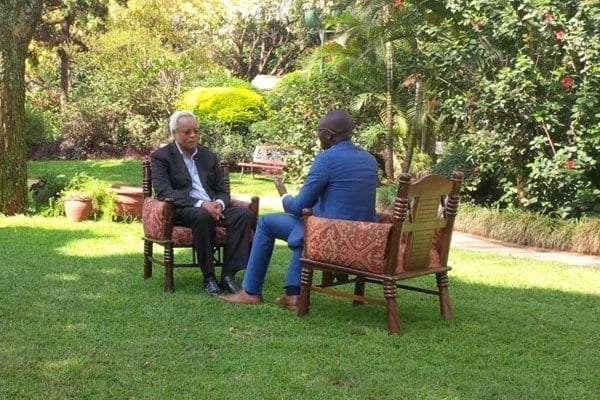 Former Tanzania Prime Minister who is also the main opposition leader Edward Lowassa (left) during an interview in Nairobi on July 16, 2017. PHOTO | IBRAHIM ORUKO | NATION MEDIA GROUP