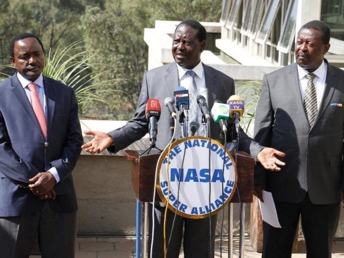 NASA Coalition principals Kalonzo Musyoka, Raila Odinga and Musalia Mudavadi during a press conference on IEBC's preparedness to hold the just concluded general elections at Capital Hill on March 2, 2017. /Jack Owuor