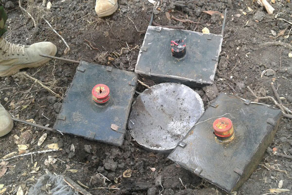 Some of the explosives seized at an Al-Shabaab base in Baadhade, Somalia on March 26, 2017 after a raid by KDF troops. PHOTO | COURTESY