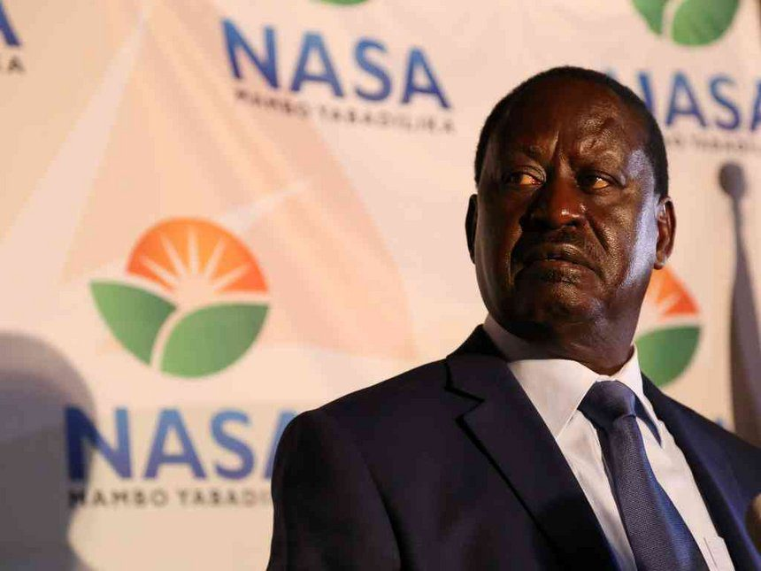 NASA presidential candidate Raila Odinga during a media briefing at a Nairobi hotel where he rejected results of the presidential election, August 9,2017. /HEZRON NJOROGE