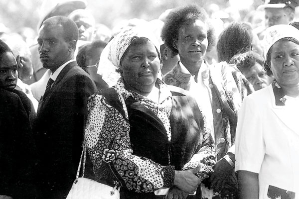 The Bometts liked Moi, the tall, handsome and well-mannered orphaned boy who would stay with them during school holidays. Moi was to later marry their daughter, Helena Bomett (above centre with handbag), better known as Lena. The two started growing apart as Moi got deeply engrossed in politics of survival against the mandarins surrounding President Jomo Kenyatta.