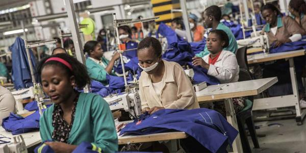 Workers at a textile factory that produces textiles for export to the US under Agoa. AFP PHOTO