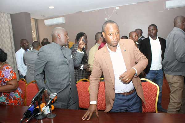 Larieda MP-elect Otiende Amollo (left), outgoing Nairobi Deputy Governor Jonathan Mweke and other Nasa leaders leave after a press conference at Ngong Hills Hotel, Nairobi on August 12, 2017. They called on their supporters to be calm but remain vigilant for justice. PHOTO | ANTHONY OMUYA | NATION MEDIA GROUP