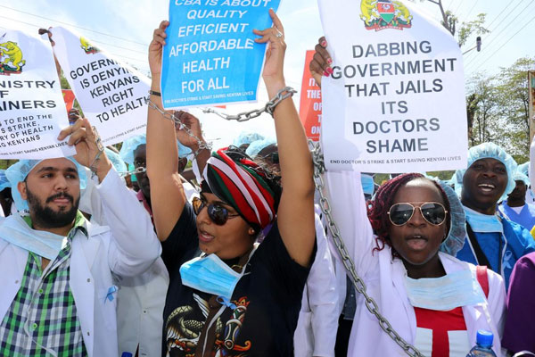 Doctors demonstrate in Kisumu County on February 14, 2017.