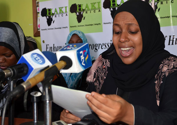 Haki Africa Gender Rights Coordinator Salma Hemed addresses the media at their offices in Mombasa on October 22, 2014, on the fate of Kenyans in the Middle East. Haki Africa claimed that prominent politicians and government officials own some of the illegal job recruitment agencies that are sending Kenyans to the Middle East. FILE PHOTO | KEVIN ODIT | NATION MEDIA GROUP