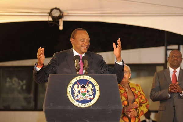 President Uhuru Kenyatta was declared the winner of presidential polls with 54.27 per cent of votes, beating his rival Raila Odinga who scored 44.74 percent, the IEBC on August 11, 2017.  PHOTO | JOHN MUCHUCHA | AFP