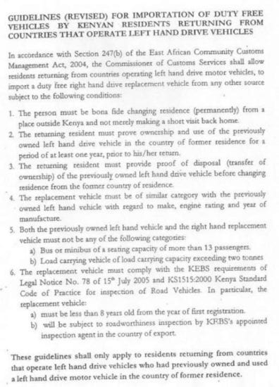Guidelines For The Importation Of Duty Free Vehicles By