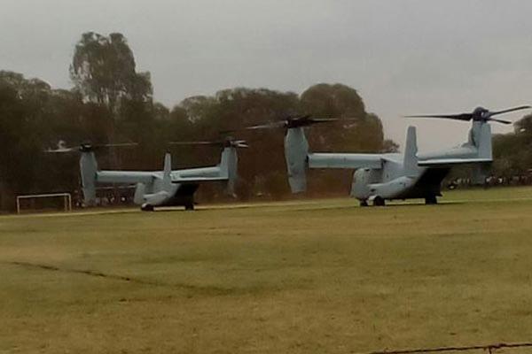 Two V-22 Ospreys land at Kenyatta University on