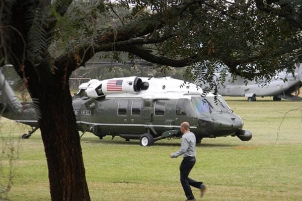 A picture of Marine One helicopter that landed