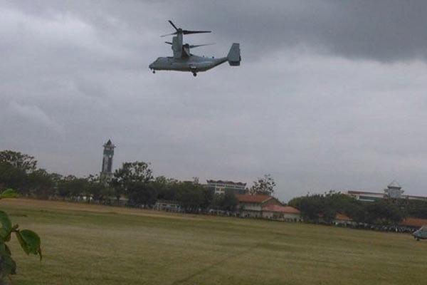 The V-22 Osprey flies over Kenyatta University
