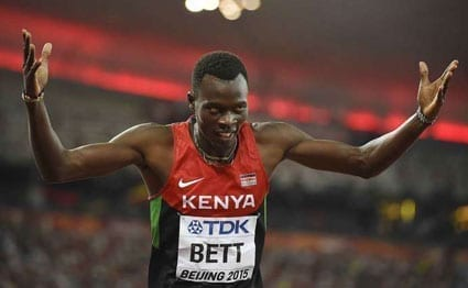 Kenya's Nicholas Bett celebrates winning the final of the men's 400 metres hurdles athletics event at the 2015 IAAF World Championships at the