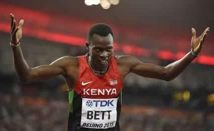 Kenya's Nicholas Bett celebrates winning the final of the men's 400 metres hurdles athletics event at the 2015 IAAF World Championships at the