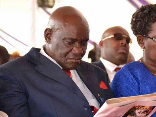 Henry Billy Ngala on Saturday at his father Eliud Ngala Mwendwa's funeral in Ithookwe, Kitui / MUSEMBI NZENGU