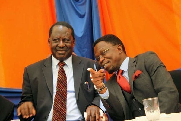 ODM leader Raila Odinga (left) with party secretary-general Ababu Namwamba at a past press briefing.