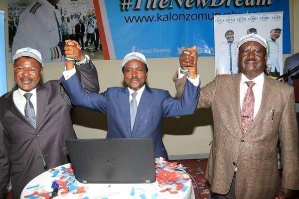 From left: Cord leaders Moses Wetung'ula, Kalonzo Musyoka and Raila Odinga at the Panari Hotel in Nairobi on June 30, 2016 during the launch of Mr Musyoka's website. PHOTO   JEFF ANGOTE   NATION MEDIA GROUP
