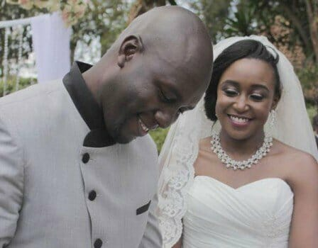 HAPPY DAY: Media personalities Dennis Okari and Betty Kyallo all smiles during their wedding in October 2015.