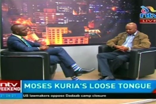 NTV's Larry Madowo during the interview with Gatundu South MP Moses Kuria. PHOTO   SCREENSHOT