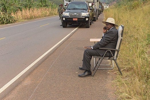 Ugandan President Yoweri Museveni during the phone call in Kyeirumba village, Isingiro district, in western Uganda. PHOTO | COURTESY