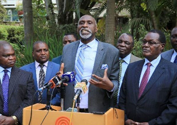 Former Commission for the Implementation of the Constitution chairman Charles Nyachae addresses the media at Serena Hotel on July 28, 2016 after they met President Uhuru Kenyatta at State House. Mr Nyachae said the visit was to push for the Abagusii people's agenda. PHOTO   JEFF ANGOTE   NATION MEDIA GROUP