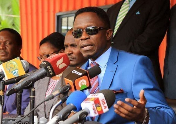 Orange Democratic Movement (ODM) Secretary-General Ababu Namwamba addresses the media at Orange House on June 29, 2016. Mr Namwamba said he would neither support nor participate in activities that seem to promote division. PHOTO | JEFF ANGOTE | NATION MEDIA GROUP