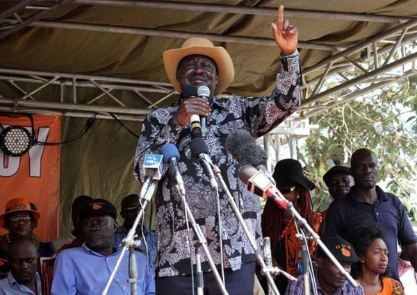 ODM leader Raila Odinga addresses a crowd in Ugunja on July 17, 2016. Mr Odinga said the party was stable despite the resignation of secretary-general Namwamba and national vice-chairman Paul Utuoma. PHOTO | TOM OTIENO | NMATION MEDIA GROUP