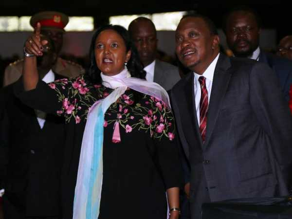 Foreign Affairs Cabinet secretary Amina Mohammed with President Uhuru Kenyatta during the launch of the Kenya Foreign and Diaspora Policy at the KICC on January 20 last year /FILE