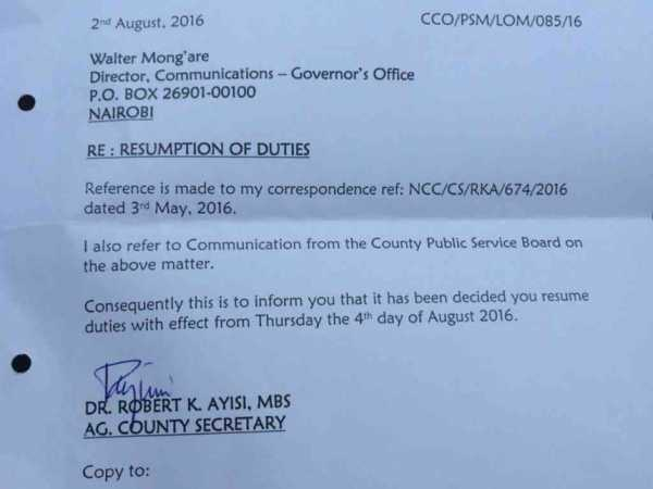 The letter by Nairobi secretary Robert Ayisi reinstating Walter Mong'are as county director of communication.