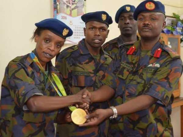 Rio Marathon Gold Medalist Jemima Sumgong with colleagues at Moi Air Base Nairobi, August 23, 2016 /COURTESY