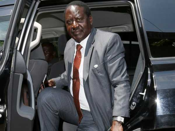 Cord leader Raila Odinga arrives for the special parliamentary group and governors summit meeting at Ufungamano house on august 23, 2016.Photo/Jack Owuor