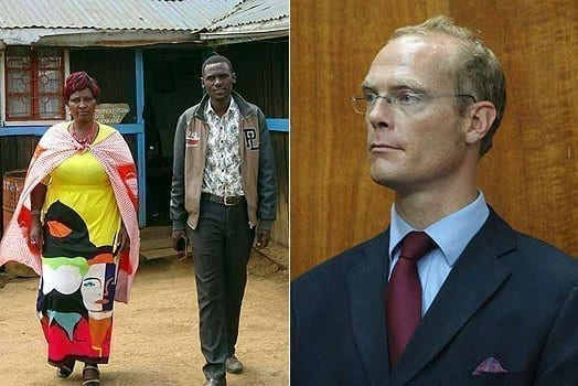 LEFT: Mrs Lucy Sisina, the widow of the late KWS Ranger Mr Samson ole Sisina, with her his first born son John Esho. RIGHT: Mr Tom Cholmondeley. PHOTOS | GEORGE SAYAGIE and FILE