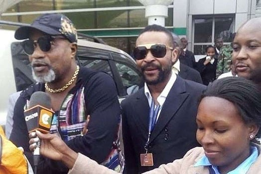 Renowned Congolese musician Koffi Olomide (left) on arrival at Jomo Kenyatta International Airport in Nairobi on Friday 22, 2016. PHOTO | COURTESY