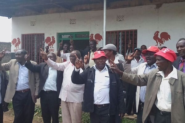 Mogotio constituency Kanu members after a addressing the media on August 1, 2016 over the defection of area MP Hellen Sambili to Jubilee.