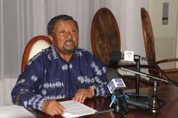 Gabonese opposition leader Jean Ping gives a