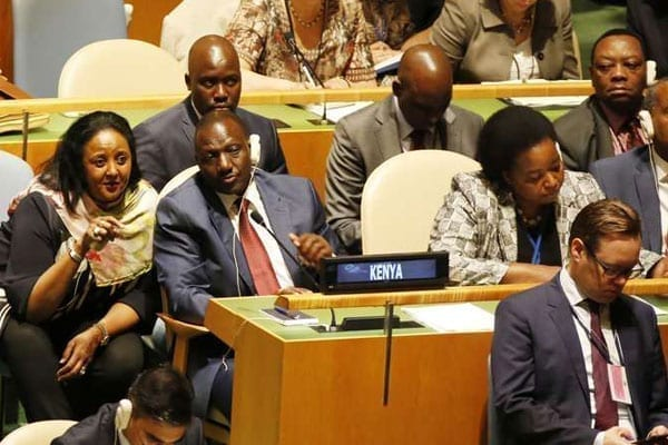 Deputy President William Ruto chats with Foreign affairs Cabinet Secretary Amina Mohammed (left) during the 71st UN General assembly meeting in New York, September 19, 2016. PHOTO | CHARLES KIMANI | DPPS