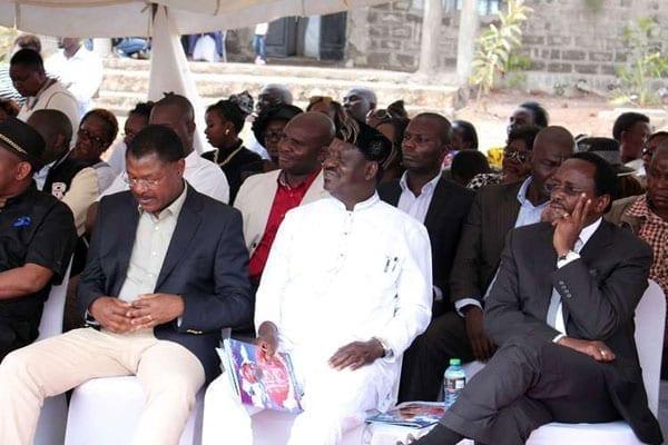 Cord principals Moses Wetang'ula, left, Raila Odinga (centre) and Kalonzo Musyoka during the burial of Ms Wavinya Ndeti's husband in Machakos on Friday. PHOTO | FILE | NATION MEDIA GROUP