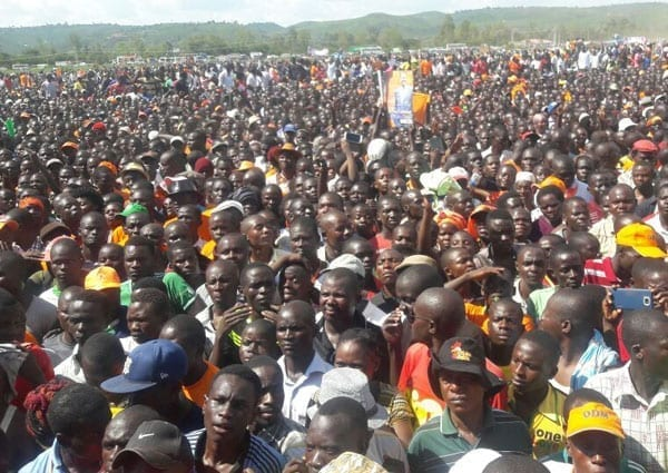 ODM supporters gather at Kisumu's Kirembe grounds for a rally to be addressed by party leader Raila Odinga and party top brass. PHOTO | NATION MEDIA GROUP.