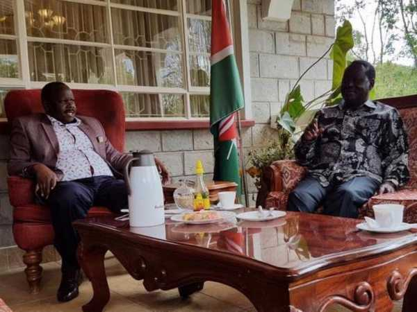 Cord leader Raila Odinga with Bomet Governor Isaac Rutto at the latter's Chepalungu home, December 3, 2016. /COURTESY