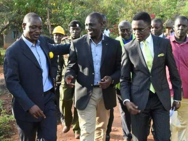 Bungoma senator aspirant David Makali, Labour Party of Kenya leader Ababu Namwamba and Deputy President William Ruto during a past function. /BRIAN OJAMAA