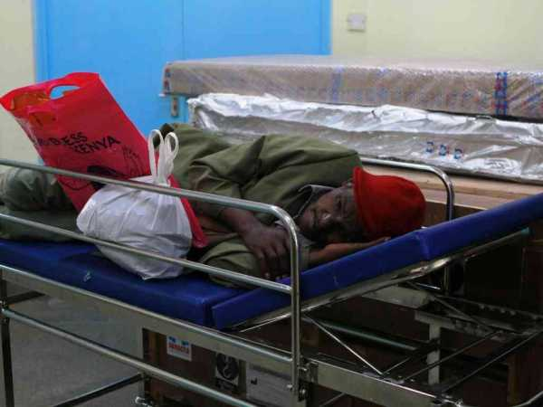 A cancer patient waiting to be served at the radiotherapy clinic at KNH on Tuesday. Photo/Monicah Mwangi