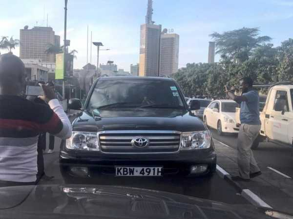 The Toyota Land Cruiser of Mwingi West MP Bernard Kitungi, which was blocked for driving on the wrong side of the road, December 7, 2017. /COURTESY
