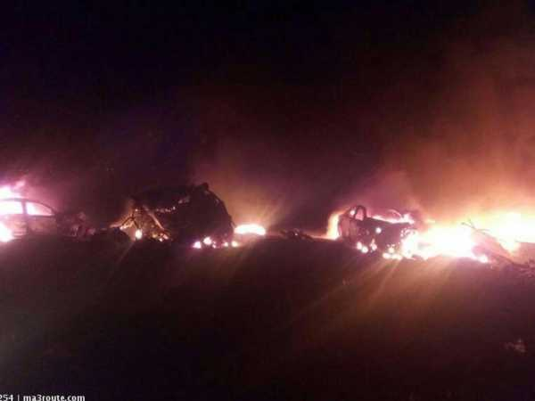 A photo of some of the vehicles involved in the grisly road accident along the Nairobi-Nakuru highway on Saturday night./Courtesy