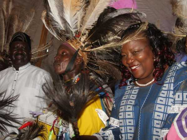 Opposition chief Raila Odinga's wife Ida during the Luo Cultural Festival in Kisumu on December 21 /MAURICE ALAL