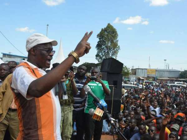 Cord leader Raila Odinga's former aide Eliud Owalo during a rally in Kibra in 2015. FILE