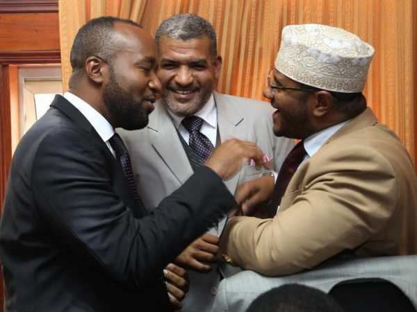 A file photo of Mombasa Governor Hassan Joho, Mvita MP Abdulswamad Shariff and Senator Hassan Omar following the county chief's appearance before the  Senate Public Accounts Committee. /HEZRON NJOROGE
