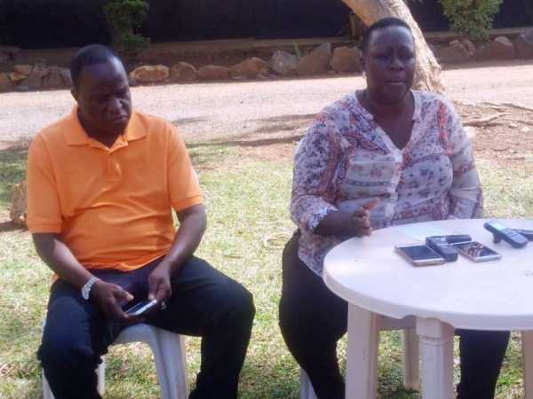Nyando MP Fred Outa and Kisumu Deputy Governor Ruth Odinga address journalists on a break-in at her home in Nyahera, Kisumu West subcounty, February 3, 2016. /FAITH MATETE