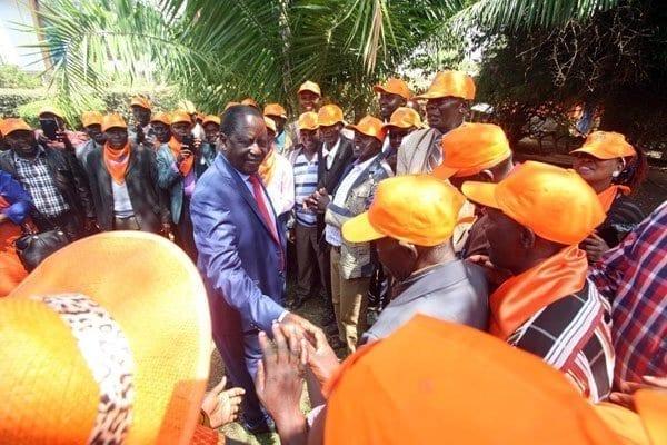 Orange Democratic Movement leader Raila Odinga with Pokot leaders at the party's headquarters Orange House in Nairobi on February 23, 2017. PHOTO | EVANS HABIL | NATION MEDIA GROUP