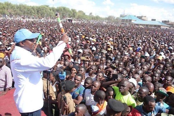 Nasa leaders led by Kalonzo Musyoka addressing a public rally at Kitengela, Kajiado County on March 19, 2017. PHOTO   DENNIS ONSONGO   NATION MEDIA GROUP