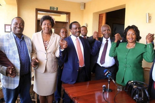 Kamba leaders from left: Mutua Katuku, Chairty Ngilu, Kalonzo Musyoka, Kivutha Kibwana and Wavinya Ndeti in show of unity during a meeting at Ole Sereni Hotel on March 14, 2017 where they declared support for Kalonzo and asked Nasa to pick him as opposition's flag bearer. PHOTO | JEFF ANGOTE | NATION MEDIA GROUP